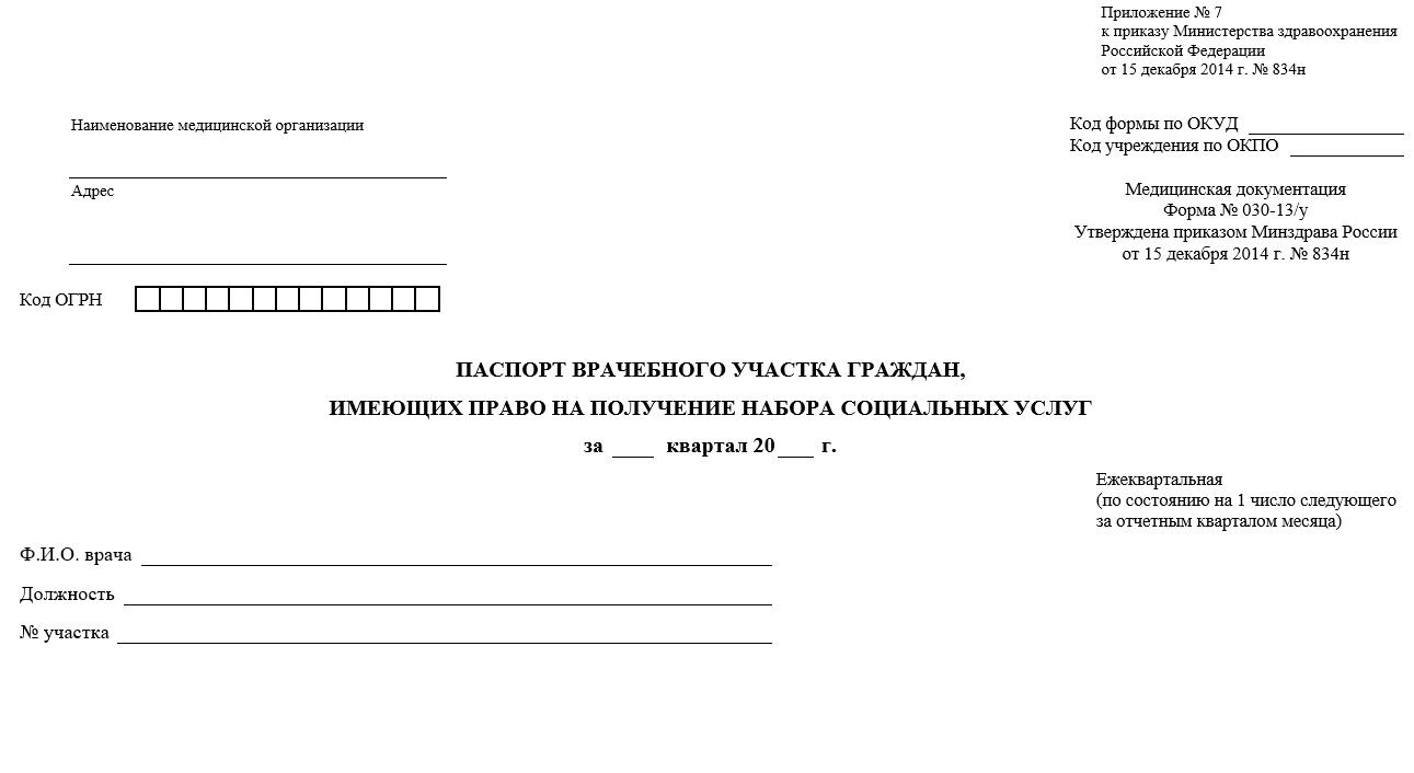 Паспорт врачебного участка граждан, имеющих право на получение набора социальных услуг