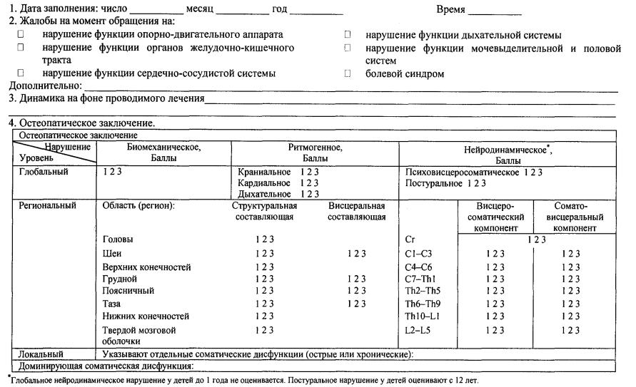 Осмотр врачом-остеопатом (наблюдение в динамике)